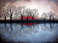 Reflecting Trees Painting  - Reflecting Trees Fine Art Print