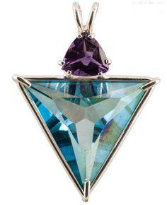 aqua aura donut pendant | Aqua Aura Angelic Star™ With Trillion Cut Amethyst
