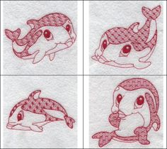 """""""Redwork Dolphins"""" dive in to see these 5 dolphins featuring interesting motif stitching in select areas and big beautiful eyes!"""