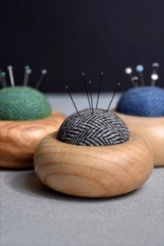 Handmade in Yorkshire with woollen pads stuffed with wool. #BeyondMeasure #pin cushion #sewing #handmade #wooden Pincushions, Handmade Wooden, Yorkshire, Sheep, Wool, Sewing, Gifts, Shopping, Dressmaking