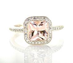 Princess Morganite Diamond Engagement Ring Morganite Ring Diamond Halo Custom Bridal Jewelry -> get free grocery coupons! Antique Engagement Rings, Diamond Engagement Rings, Halo Diamond, Diamond Rings, Solitaire Rings, Bling Bling, Morganite Engagement, Ring Verlobung, Hand Ring