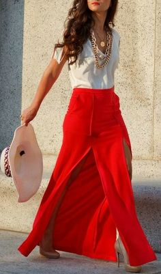 Red Maxi + White T-Shirt