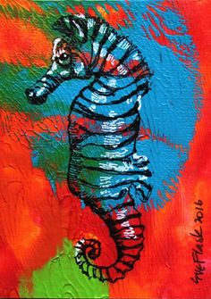 ACEO original Acrylic Pen Painting Marine Miniature Painting Sea Zebra Sue Flask #Miniature