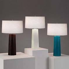 A perfect choice when just a splash of color is needed to liven up a room. The Robert Abbey Mason Table Lamp features an elegant, simple oyster linen drum shade and a glossy glazed ceramic base available in a wide assortment of vibrant colors. Completed with polished nickel accents and a three-way switch.