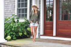 Olive sweater and denim shorts | www.missbethanykate.com