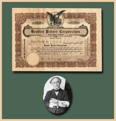 """New York, New York, May 12, 1922.  8.25 x 11.5. """"Stock Certificate  signed   """"Harry Houdini""""  as President of the Houdini Picture Corporation, 8.25"""" x 11.5"""". New York, May 12, 1922. Ornately bordered with blind embossed 1921 New York corpor..."""