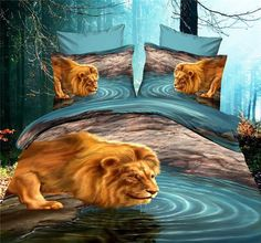 Lion Bedding sets Aqua Queen size duvet cover bed in a bag Cotton bed sheets bedspread quilt bedroom linen Animal print 3d Bedding Sets, Bedding Sets Online, Queen Comforter Sets, Blue Bedding, Queen Size Duvet Covers, Duvet Cover Sets, Bed Covers, Linen Bedroom, Linen Bedding