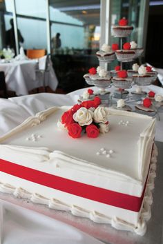 Traditional Red And Ivory Rose Wedding Cake