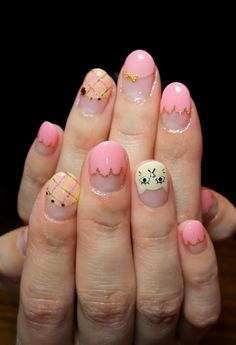 pink nails with kitten accent - japanese manicure - nail art
