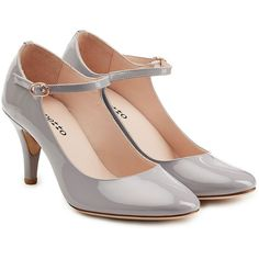 Repetto Patent Leather Pumps ($300) ❤ liked on Polyvore featuring shoes, pumps, heels, grey, patent pumps, polish shoes, gray shoes, grey shoes and gray pumps