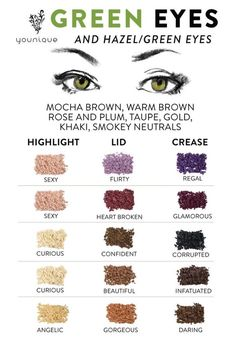Okay so knowing the right shades, tones and colours to use on your eyes make a huge difference! Green, grey, brown, blue eyes all need colours that enhance the iris and really make them pop! Use these hints and colour guides for our Younique mineral Pigments to get the best results out of your makeup:D  Order your pigments today - www.lipslashesandmorebykaren.com