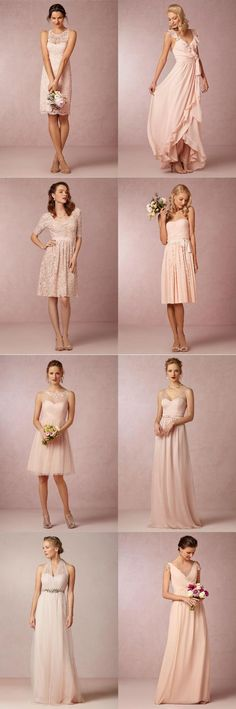 Collection of Blush Bridesmaid Dresses via BHLDN