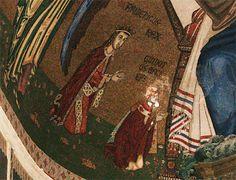 La Cattedrale di Messina Il mosaico dell'abside centrale, a sinistra di Cristo, ma in ginocchio, vi è l'Arcivescovo Guidotto de Abbiate e il Re Federico III re di Sicilia.