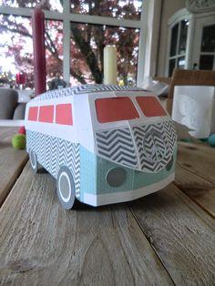VW Bus als Geschenkverpackung mit der Silhouette Cameo gemacht