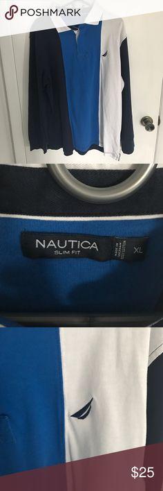 NWOT Nautica long sleeve rugby shirt NWOT men's Nautica long sleeve rugby shirt. Never worn. Size XL slim fit Nautica Shirts