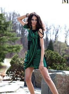 Striped and Draped with a bit of Lace - Black and Green Dres,  Dress, striped  green  black  lace  draped  dress, Chic