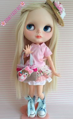 """Blythe accessories: Bag 1/6 scale """"Kawaii Doll"""".Blythe Shopping Bag.Blythe outfit.Pullip bag. 1 6 scale accessories. 1 6 scale furniture de FunkyFairyHut en Etsy"""