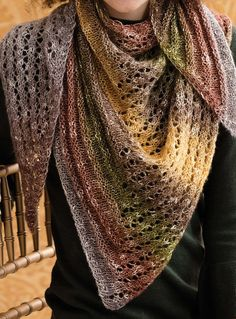 Knitting Pattern for Right Triangle Shawl - The shifting of the two pattern stitches—welt and lace—form two smaller triangles inside the right-triangle shape. Uses one skein of the recommended yarn – 518 yards (474 m) of Aran weight yarn. Designed by Holli Yeoh.