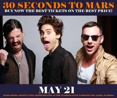 30 Seconds To Mars in Tampa at MidFlorida Credit Union Amphitheatre At The Florida State Fairgrounds on May 21. More about this event here https://www.facebook.com/events/604494709749985/