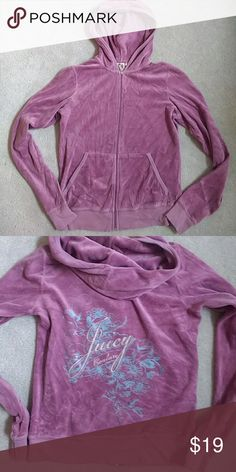 "Juicy Couture Pink Hooded Velour Zip Up Sweatshirt Comfy hoodie with ""J"" zipper and Juicy graphic at back. A bit wrinkled, but otherwise in good condition. Says size large but fits like a medium Juicy Couture Tops Sweatshirts & Hoodies"