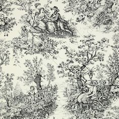 Timeless Treasures French Court Toile Ivory & Black Cotton
