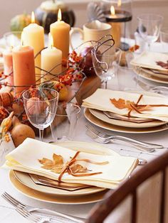 Fall Tablescape for #Thanksgiving love the pears/squashs dont know about the plates or table cloth