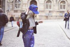 snap back and galaxy pants.