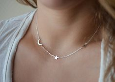 Crescent Moon and Star Necklace New Moon Necklace by foressti. I want the silver one!