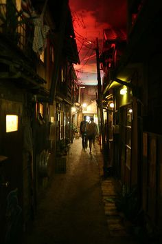 Inside of Ramen Museum in Yokohama, Japan, reproduction of the streets in 80's