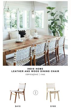 Indie Home wood and leather dining chair | Copy Cat Chic | Bloglovin'