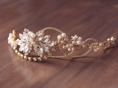 Gold Pearl Crystal Bridal Hair Wreath
