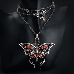 handmade butterfly necklace technique: wire-wrapping materials: silver, carnelian, garnet, hessonite, aventurine by Bartosz Ciba AVAILABLE Vermillion 1 Wire Wrapped Jewelry, Metal Jewelry, Beaded Jewelry, Jewelry Necklaces, Handmade Jewelry, Bracelets, Simple Necklace, Simple Jewelry, Heart Jewelry