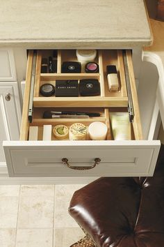At first glance, is obvious that the Vanity Cosmetic Center Drawer is ideal for makeup and toiletry storage, but another practical application for it is as a desk drawer to keep your office supplies organized. Bathroom Vanity Drawers, Bathroom Cabinetry, Bathroom Furniture, Bathroom Storage, Kitchen Cabinets, Desk Drawer Organisation, Vanity Organization, Thomasville Cabinets, Toiletry Storage