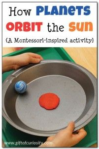 Universe space unit - How planets orbit the sun: This super simple Montessori-inspired activity gives kids a hands-on and concrete way to understand how planets orbit the sun in a large circle Kindergarten Science, Elementary Science, Science Classroom, Science Lessons, Teaching Science, Science For Kids, Science Space, Science Experiments, Science Education