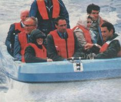 July 4, 1985:  Prince Charles and Princess Diana take a boat ride off MacBraynes Pier at Lochmaddy, North Uist, Outer Hebrides