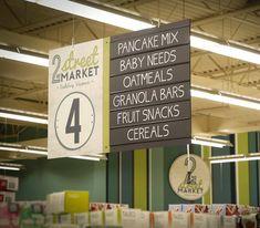 Supermarket Design, Fruit Snacks, Granola Bars, Hanging Signs, Store Design, Grocery Store, Retail, Marketing, Graphics