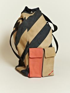 Leh Men's Oversized Leather Duffle Back Pack from S/S 12 collection in navy.