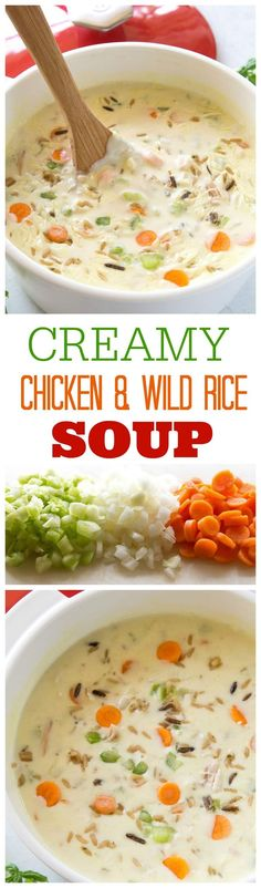 Creamy Chicken and Wild Rice Soup - nothing beats warm soup on. Creamy Chicken and Wild Rice Soup - nothing beats warm soup on a Creamy Chicken and Wild Rice Soup - nothing beats warm soup on a cold day. the-girl-who-ate- Crockpot Recipes, Soup Recipes, Chicken Recipes, Cooking Recipes, Healthy Recipes, Chicken Meals, Family Recipes, Chicken Wild Rice Soup, Creamy Chicken