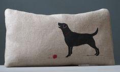Hand printed Labrador decorative cushion on rustic light brown linen/cotton '12x20' accent throw cushion.