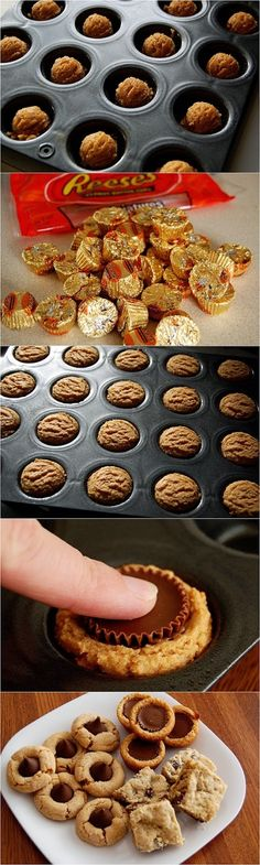 Reese's Peanut Butter Cup Cookies 220 g flour, 98 g sugar, 105 g brown sugar; bake 18 large cookies for 13 min Peanut Butter Cup Cookies, Yummy Cookies, Yummy Treats, Sweet Treats, Holiday Baking, Christmas Baking, Christmas Cookies, Just Desserts, Delicious Desserts
