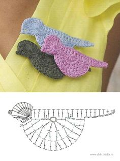 Crochet Bird Motif - Free Crochet Diagram - (manualidadesreciclables) thanks kindly xox