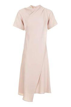 High Neck Drape Midi Dress