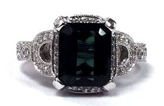 14K White Gold 2.95 cts Emerald Cut Green Tourmaline & 1.00 ct Pavé Diamond Ring #Unbranded #Cocktail #Cocktail
