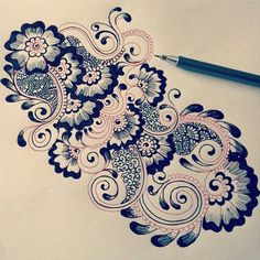 Beautiful drawing of flowers & zentangle like patterns