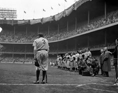 On June 13, 1948 a frail and dying Babe Ruth stood in uniform with shoulders slumped, holding a hat and bat, by himself near home plate to commemorate the 25th anniversary of Yankee Stadium. While …
