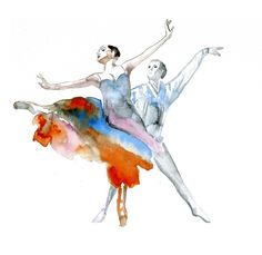 Dancers art print, Ballet dancer, Print from original watercolor painting, Just dance with me wall art decor 12 x 16 inch size print by Elena Romanova - Port Love