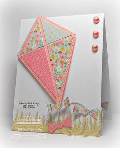 """Jumbo Kite Die-namics-My Favorite Things Tell cancer to """"go fly a kite"""" Card Making Inspiration, Making Ideas, Kids Birthday Cards, Sympathy Cards, Paper Cards, Kids Cards, Cool Cards, Creative Cards, Greeting Cards Handmade"""