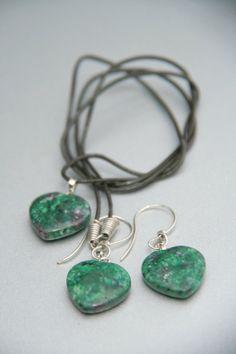 Heart Ruby in Fuchsite Pendant Bead by Violetastore on Etsy, $22.00