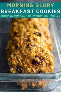 Meal Prep these Morning Glory Breakfast cookies and be ready for back to school! The perfect portable meal prep breakfast or snack on the go! Oatmeal Breakfast Cookies, Breakfast Cookie Recipe, Best Breakfast Recipes, Oatmeal Calories, Back To School Breakfast, Chocolate Chia Pudding, Homemade Granola Bars, Meal Prep Containers, Healthy Cookies