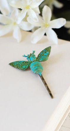 Bee Hair Pin. Victorian Verdigris Patina Brass Bee Hair Bobby Pin. Woodland Hair Accessory, Bee Accessory by LeChaim, $19.50 https://www.etsy.com/shop/LeChaim